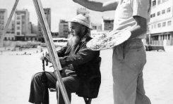 Rudolf Ackermann pintando en la playa de Las Canteras. 1962.