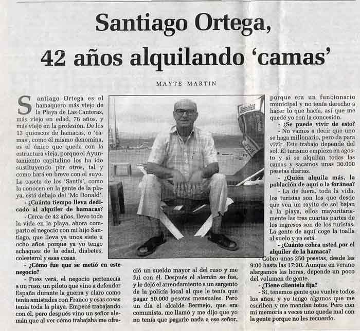 Santiago Ortega, 42 años alquilando hamacas