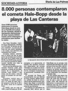 Contemplación del cometa Hale-Bopp desde la playa de Las Canteras