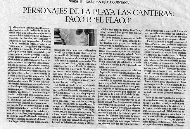Personajes de la playa de Las Canteras: Paco P. «El Flaco» por José Juan Ojeda Quintana