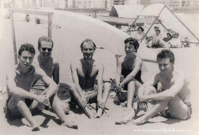 Chirino con Millares y Padorno en Las Canteras. Años 50