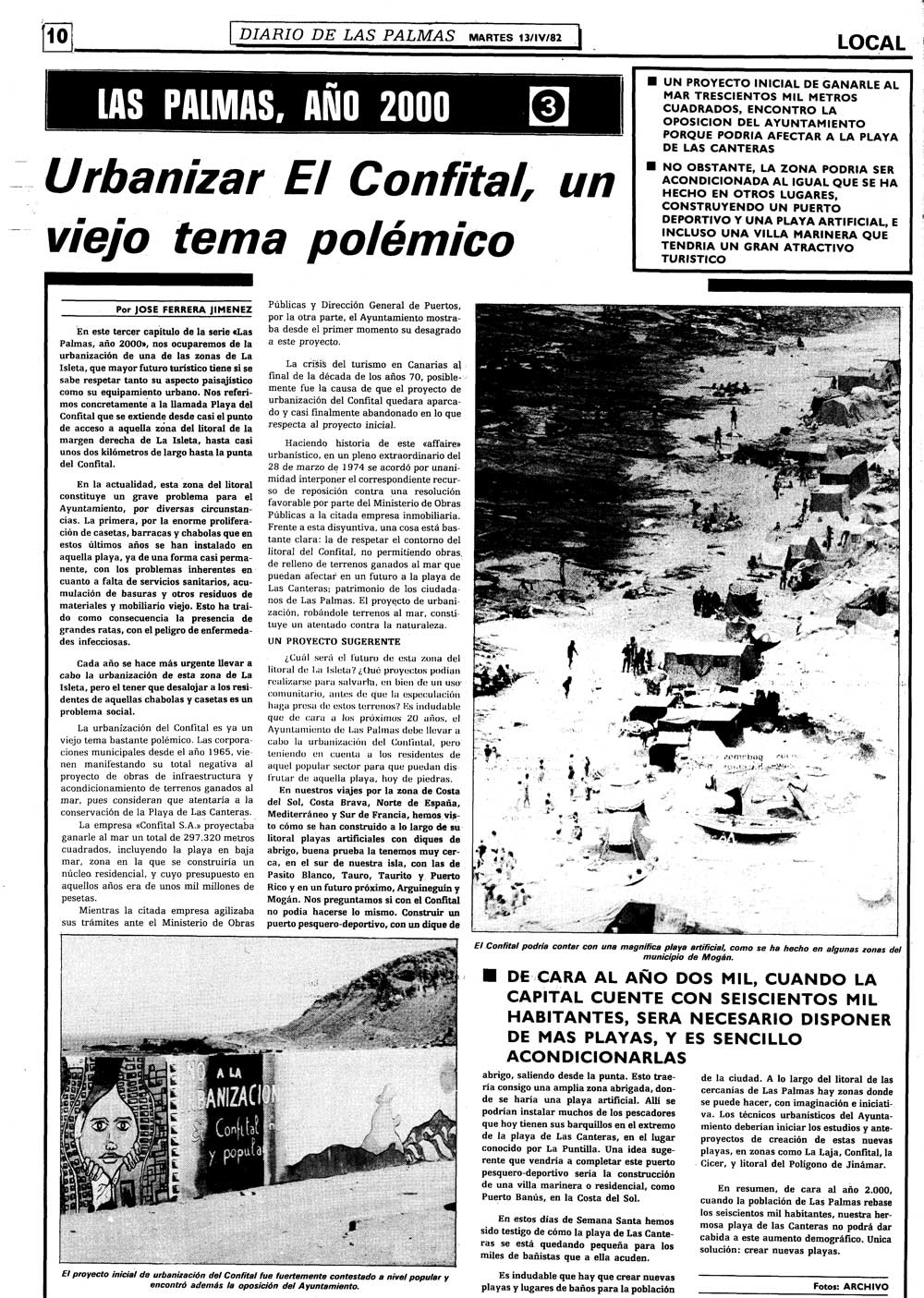 """La playa de Las Canteras en la hemeroteca """"Urbanizar El Confital, un viejo tema polémico"""""""