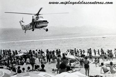 En los años 80 la publicidad en la playa de Las Canteras llegaba del cielo