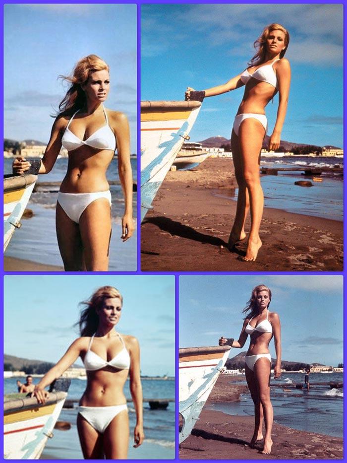 Raquel Welch posa en la playa de Las Alcaravaneras
