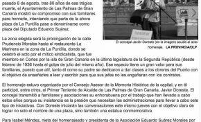 El diputado represaliado Eduardo Suárez tendrá un lugar en su barrio (Laprovincia.es)