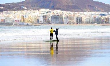 Una clase de surf