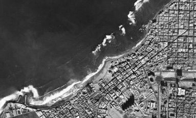Vista aérea de la playa de Guanarteme. Navidad de 1965