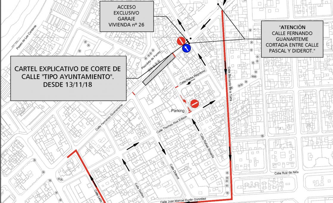 El Ayuntamiento cierra al tráfico la calle Guanarteme entre las callesPascal y Diderot