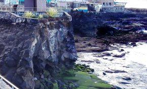 """Difícil solución para asegurar el entrante rocoso donde está situado el monumento  """"Luces en el Vacío"""""""