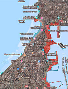 La Puntilla y la zona portuaria del istmo las partes más castigadas por las inundaciones asociadas al cambio climático a partir del año 2050