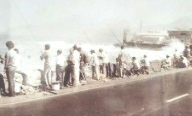 Años setenta: pescando en el muro Lloret
