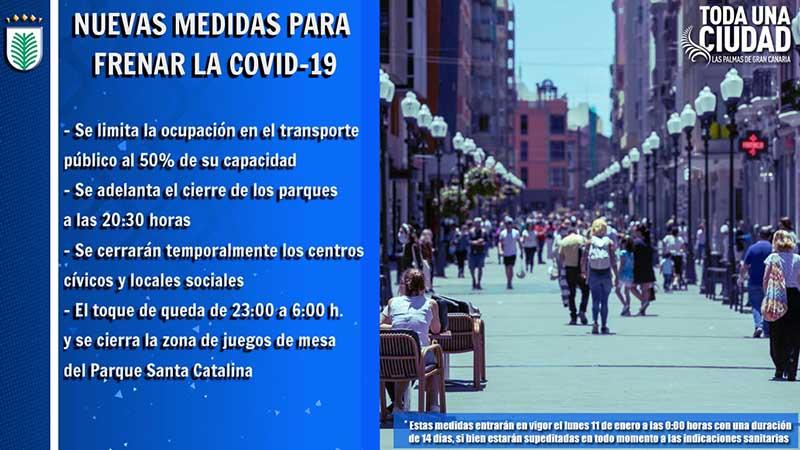 El Ayuntamiento de Las Palmas de Gran Canaria pone en marcha desde este lunes 11 de enero las nuevas medidas de contención de la COVID-19